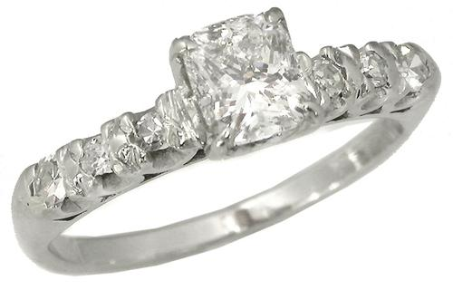 Antique GIA Certified Diamond 14k White Gold Engagement Ring