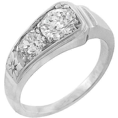 Estate Antique 0.80ct & 0.40ct Old Mine Cut Diamond 14k White Gold Ring