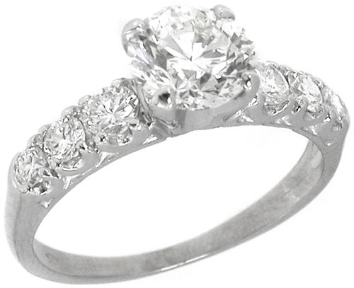 Antique 1.04ct Round Cut Diamond Platinum Engagement Ring GIA Certified