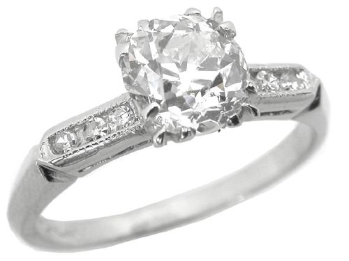 Antique  1.09ct Diamond Platinum Engagement Ring