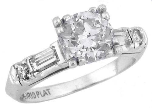 1920s 1.25ct Old European Cut Diamond Platinum Engagement Ring