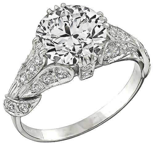 GIA Certified Antique 3.01ct Round Brilliant Diamond Platinum Engagement Ring