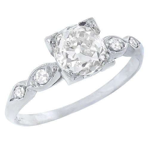 Antique  EGLCertified 1.56ct Cushion Cut Diamond Platinum Engagement Ring