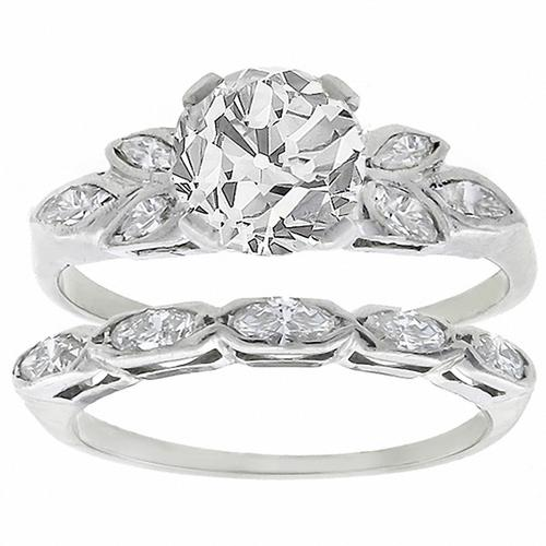 GIA Certified 1.41ct Old European Cut Diamond Center Stone Engagement Ring & 0.50ct Marquise Cut Diamond Wedding Band 14k White Gold Set