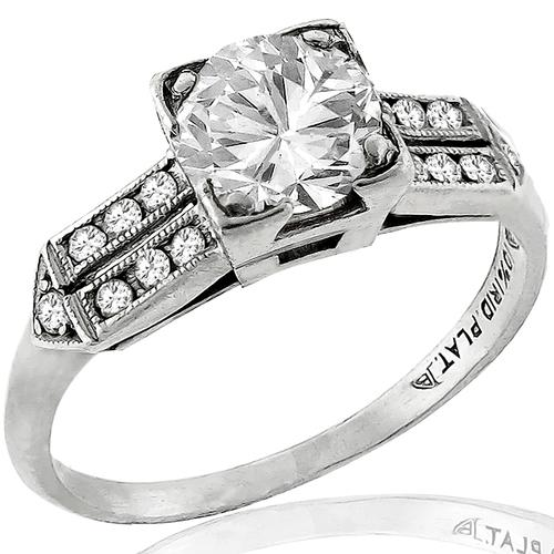 Estate 0.70ct Diamond Platinum Engagement & Wedding Band Set