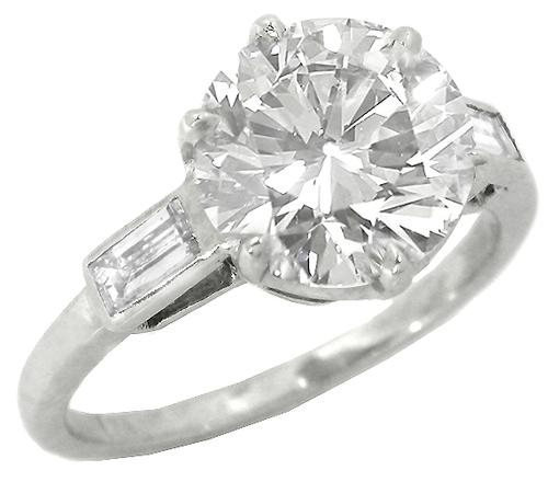 1950s 2.73ct Diamond Platinum Engagement Ring