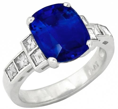 Vintage 3.96ct Cushion Cut Ceylon Sapphire 0.50ct Square Cut Diamond Platinum Engagement Ring