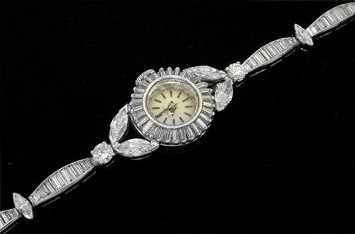 Antique Eterna 3.85ct Diamond  Platinum Watch