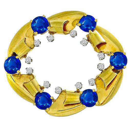 Estate Sapphire Diamond  Gold Pin