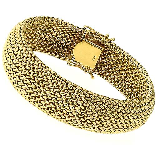 Buy 1960s 14k Yellow Gold Mesh Bracelet New York Estate Jewelry