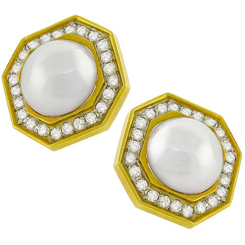 Diamond Mabe Pearl Gold Earrings