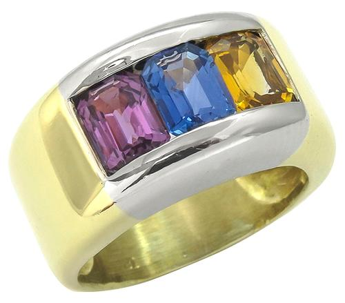 Vinatge 3.75ct Emerald Cut Yellow Blue and Pink Sapphire 18k Yellow and White Gold Ring