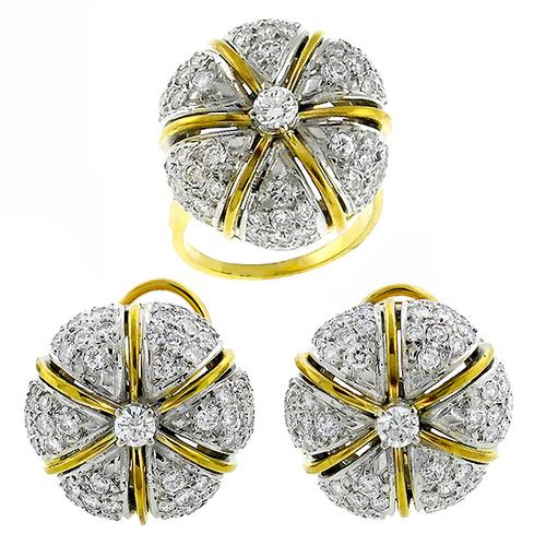 Vintage 6.00ct Round Cut Diamond 14k Yellow  and White   Gold Ring and Earrings Set