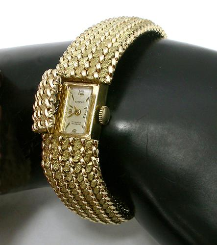 1960s Emewo 17 Jewels  Incabloc 14k Yellow Gold Cover Watch Bracelet