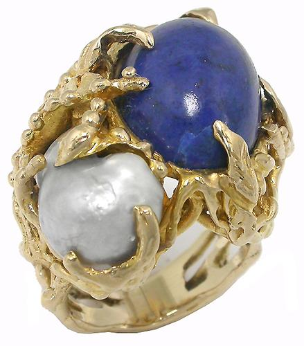 1960s Lapis Baroque Pearl 14k Yellow Gold Ring