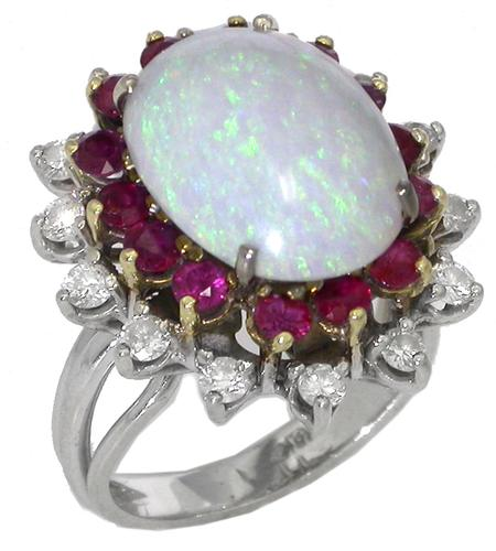 1960s Opal 1.10ct Round Cut Ruby 0.60ct Round Cut Diamond 18k White Gold Ring