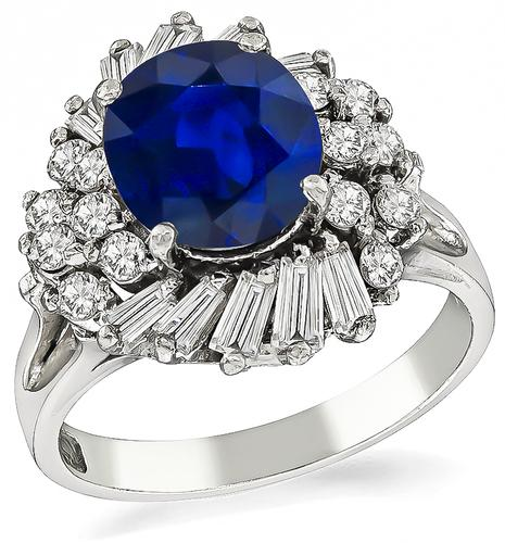 Vintage Cushion Cut Sapphire Baguette and Round Cut Diamond Platinum Cocktail Ring