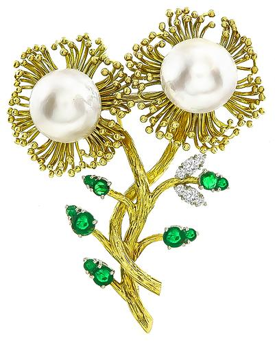 1960s Pearl Round Cut Emerald Diamond 14k Yellow Gold Flower Pin