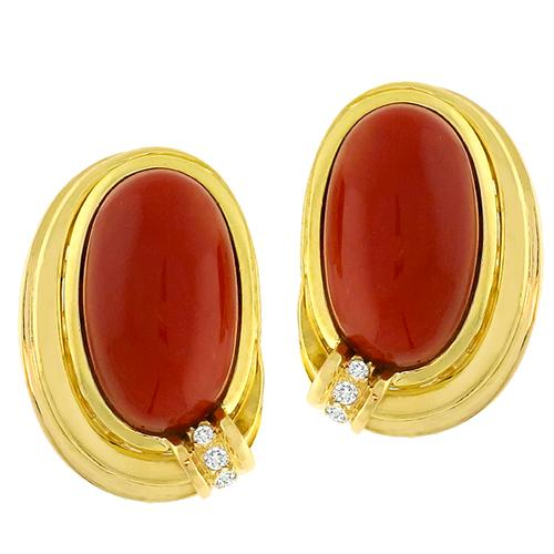 Coral Diamond Gold Earrings