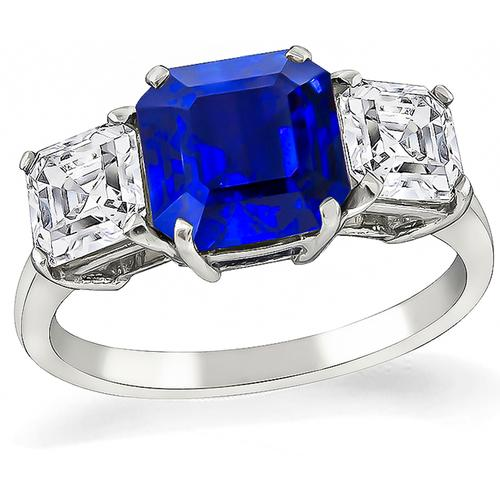 2.65ct Asscher  Cut Sapphire 1.37ct Asscher Cut Diamond Platinum Anniversary  Ring