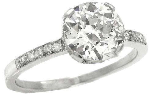 2.00ct Old European Diamond Platinum Engagement Ring