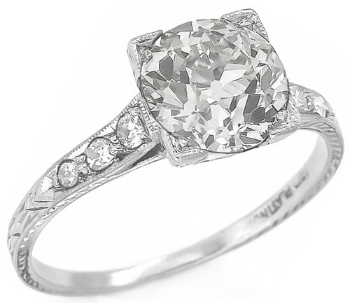 2.01ct Old European Cut Diamond Platinum Engagement Ring