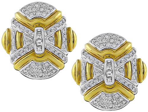 Round Cut Diamond 18k Yellow and White Gold Earrings