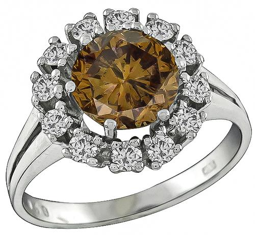 Round Cut Natural Fancy Color Diamond 18k White Gold Cluster Ring