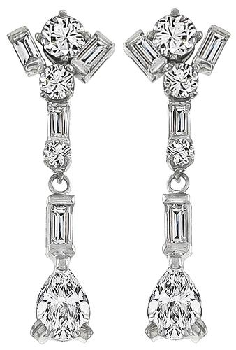Pear Baguette and Round Cut Diamond 14k White Gold Drop Earrings