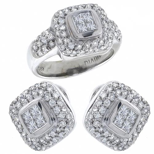 Princess & Round Cut Diamond 18k White Gold Earrings & Ring Set