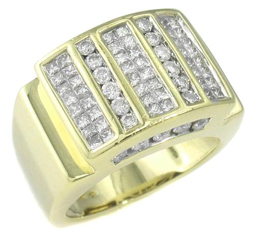 2.30ct Princess and Round Cut Diamond 14k Yellow Gold Ring