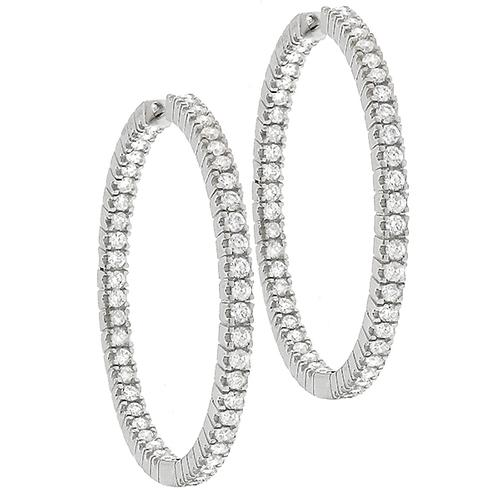2.48ct Round Cut Diamond Inside Out 18k White Gold Hoops Earrings