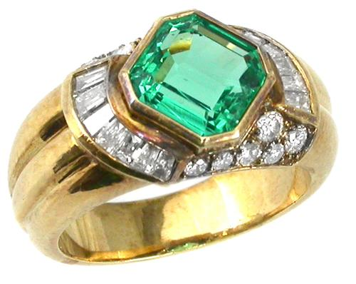 2.50ct Colombian Emerald 0.75ct Diamond 18k Yellow Gold Ring