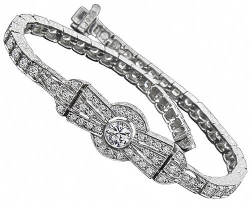 Art Deco Style Round Cut Diamond Platinum Bracelet