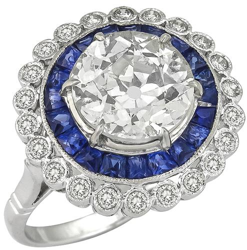 Art Deco Style Old European Cut Diamond French Cut Sapphire 14k White Gold Engagement Ring