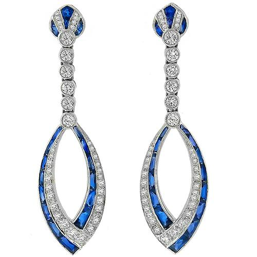 2.71ct Sapphire 1.58ct Diamond Drop Earrings