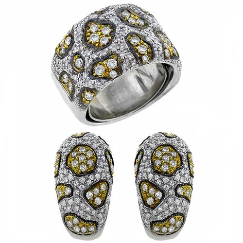 3.00ct Round Diamond 14k White Yellow & Oxidized  Gold Earrings & Ring Set