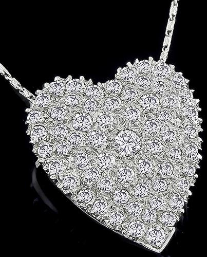 Round Cut Diamond 14k White Gold Heart Pin / Pendant Necklace