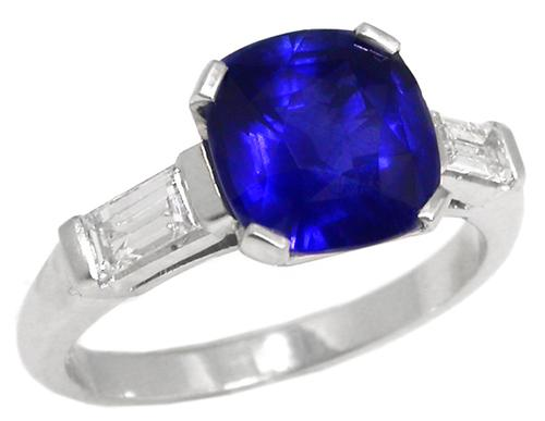 3.05ct Cushion Cut Ceylon Sapphire 0.30ct Diamond Platinum Engagement Ring