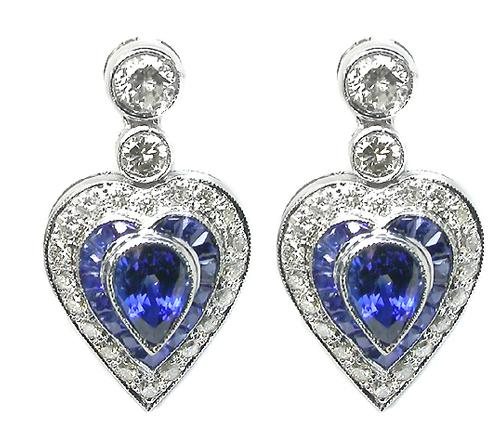 Pear Shape Sapphire Round Cut Diamond 18k White Gold Earrings