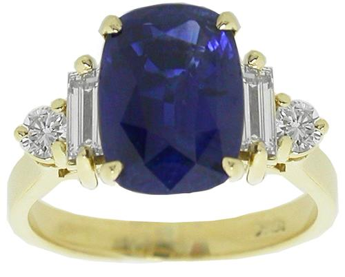 3.20ct Cushion Cut Ceylon Sapphire  Diamond 18k Yellow  Gold Engagement Ring