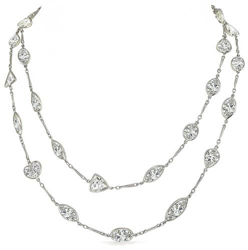 Marquise Oval Pear Heart Trilliant Square and Emerald Cut Diamond Platinum By The Yard Necklace