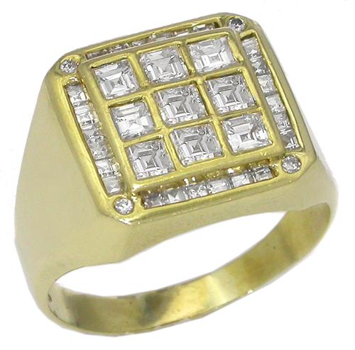 3.50ct Square and Round Cut Diamond 18k Yellow Gold Ring