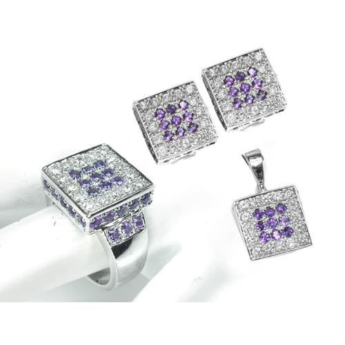 Round Cut Amethyst Round Cut Diamond 14k White Gold Earrings, Ring and Pendant Set
