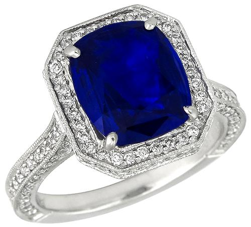 Cushion Cut Ceylon Sapphire Round Cut Diamond Platinum Engagement Ring