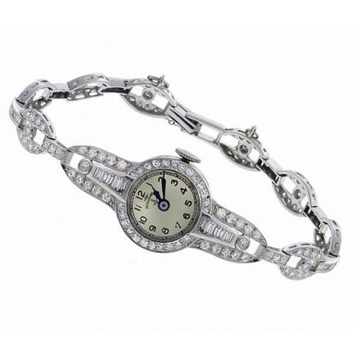 Normandie 3.75ct Round  & Baguette Cut Diamond  Platinum   Watch