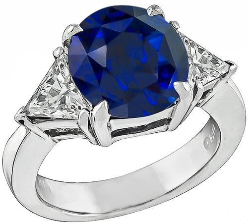 4.12ct Oval Cut Ceylon Sapphire 0.75ct Faceted Triangle Cut  Diamond 14k WHite Gold  Engagement Ring