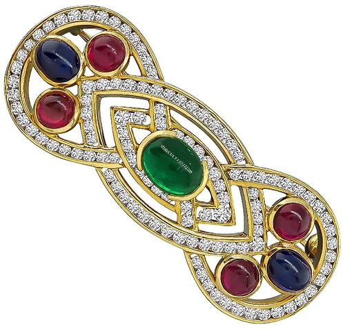 Cabochon Emerald Ruby and Sapphire Round Cut Diamond 18k Gold Pin