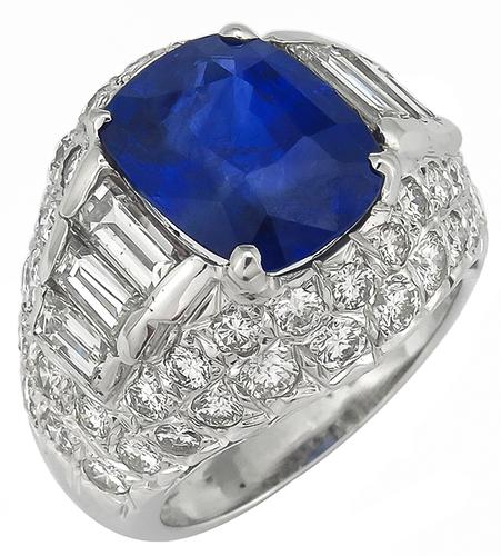 Cushion Cut Ceylon Sapphire Baguette and Round Cut Diamond 14k White Gold Ring