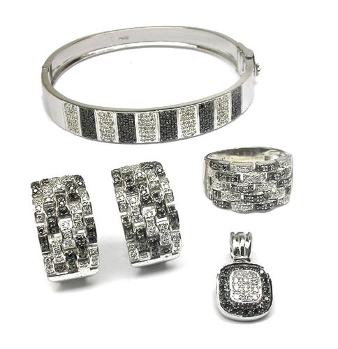 Round Cut White and Black Diamond 18k White Gold Bangle, Ring, Earrings and Pendant Set